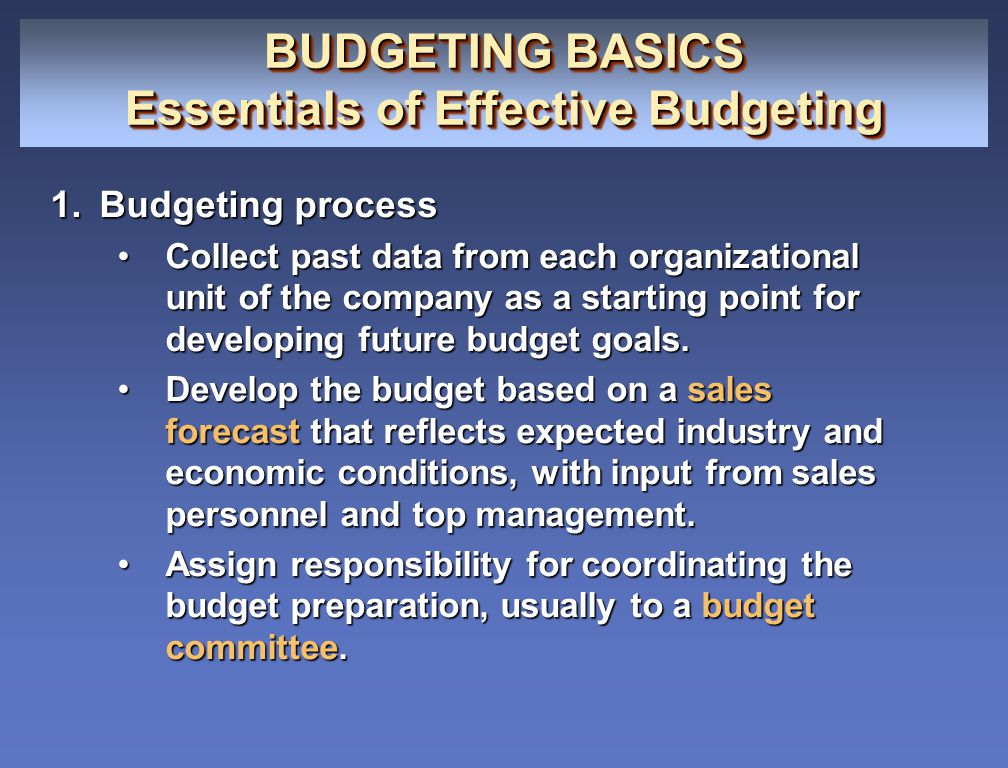 BUDGETING BASICS Essentials of Effective Budgeting BUDGETING BASICS Essentials of Effective Budgeting 1.Budgeting process Collect past data from each