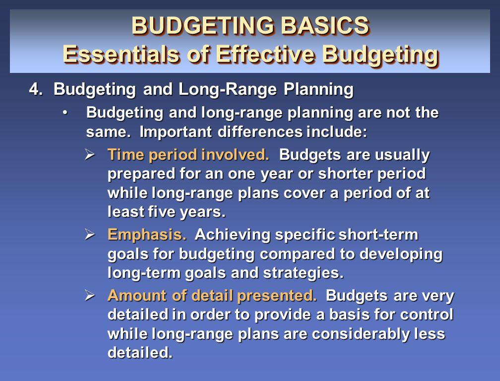 BUDGETING BASICS Essentials of Effective Budgeting BUDGETING BASICS Essentials of Effective Budgeting 4.Budgeting and Long-Range Planning Budgeting an