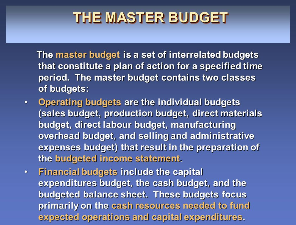 ILLUSTRATION 21-1 THE MASTER BUDGET ILLUSTRATION 21-1 THE MASTER BUDGET Sales Budget Production Budget Direct Materials Budget Direct Labor Budget Manufacturing Overhead Budget Selling and Administrative Expenses Budget Budgeted Income Statement Capital Expenditures Budget Cash Budget Budgeted Balance Sheet Operating Budgets Financial Budgets The master budget is prepared in sequence, with the operating budgets prepared first, starting with the sales budget.