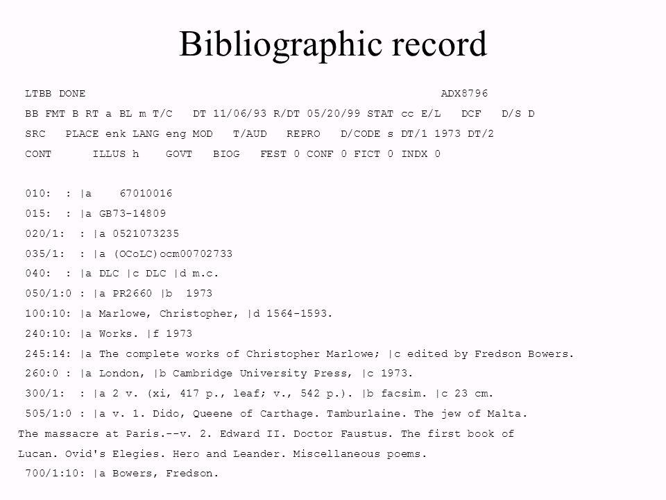 LTBB DONE ADX8796-002-0002 DISPLAY ITEM RECORD BJU1 BB BOOKS OCLC ocm00702733 LC 67010016 ISBN 0521073235 Marlowe, Christopher, 1564-1593.