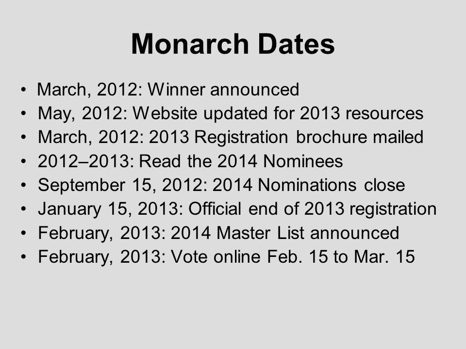 Monarch Dates March, 2012: Winner announced May, 2012: Website updated for 2013 resources March, 2012: 2013 Registration brochure mailed 2012–2013: Read the 2014 Nominees September 15, 2012: 2014 Nominations close January 15, 2013: Official end of 2013 registration February, 2013: 2014 Master List announced February, 2013: Vote online Feb.