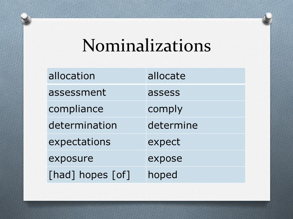 Nominalizations allocationallocate assessmentassess compliancecomply determinationdetermine expectationsexpect exposureexpose [had] hopes [of]hoped