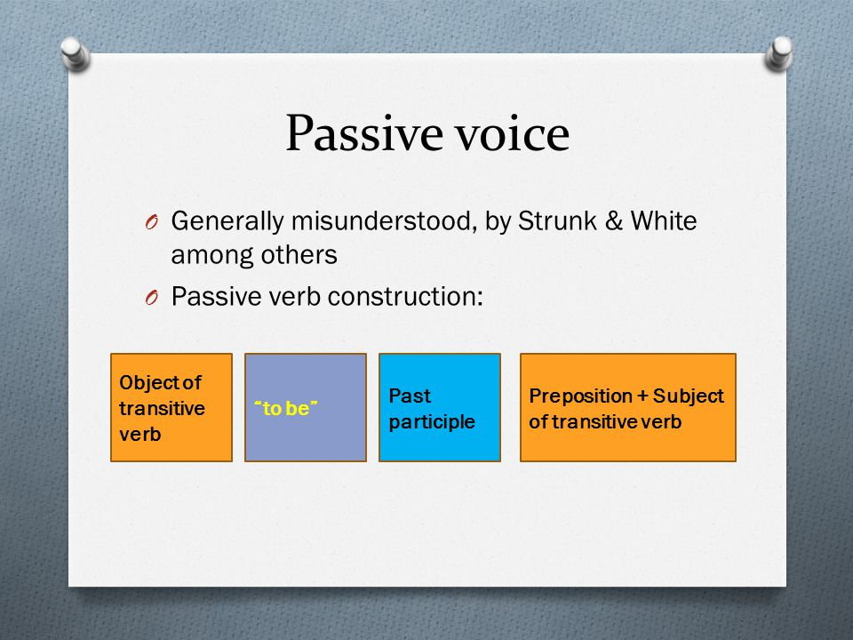 Passive voice O Generally misunderstood, by Strunk & White among others O Passive verb construction: Object of transitive verb to be Past participle Preposition + Subject of transitive verb