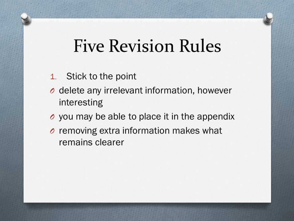 Five Revision Rules 1.