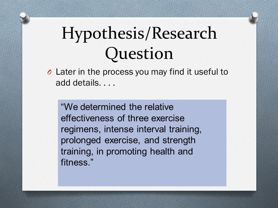 Hypothesis/Research Question O Later in the process you may find it useful to add details....