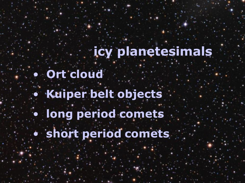 icy planetesimals Ort cloud Kuiper belt objects long period comets short period comets