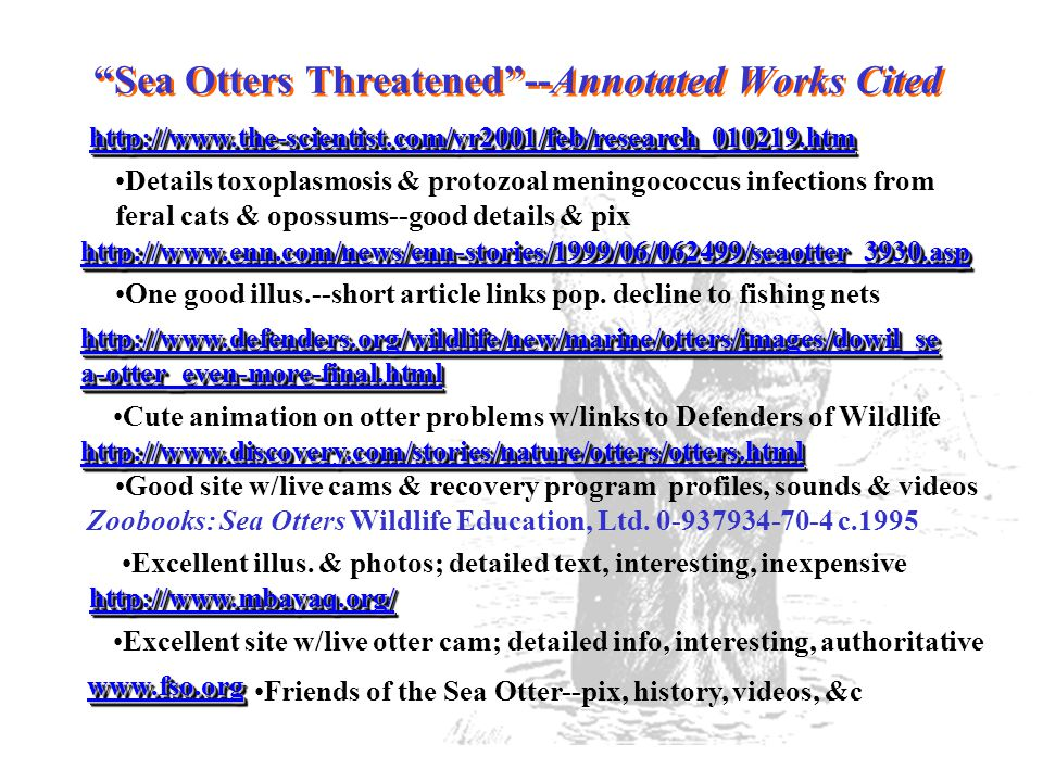 Sea Otters Threatened --Annotated Works Cited http://www.the-scientist.com/yr2001/feb/research_010219.htm Details toxoplasmosis & protozoal meningococcus infections from feral cats & opossums--good details & pix http://www.enn.com/news/enn-stories/1999/06/062499/seaotter_3930.asp One good illus.--short article links pop.