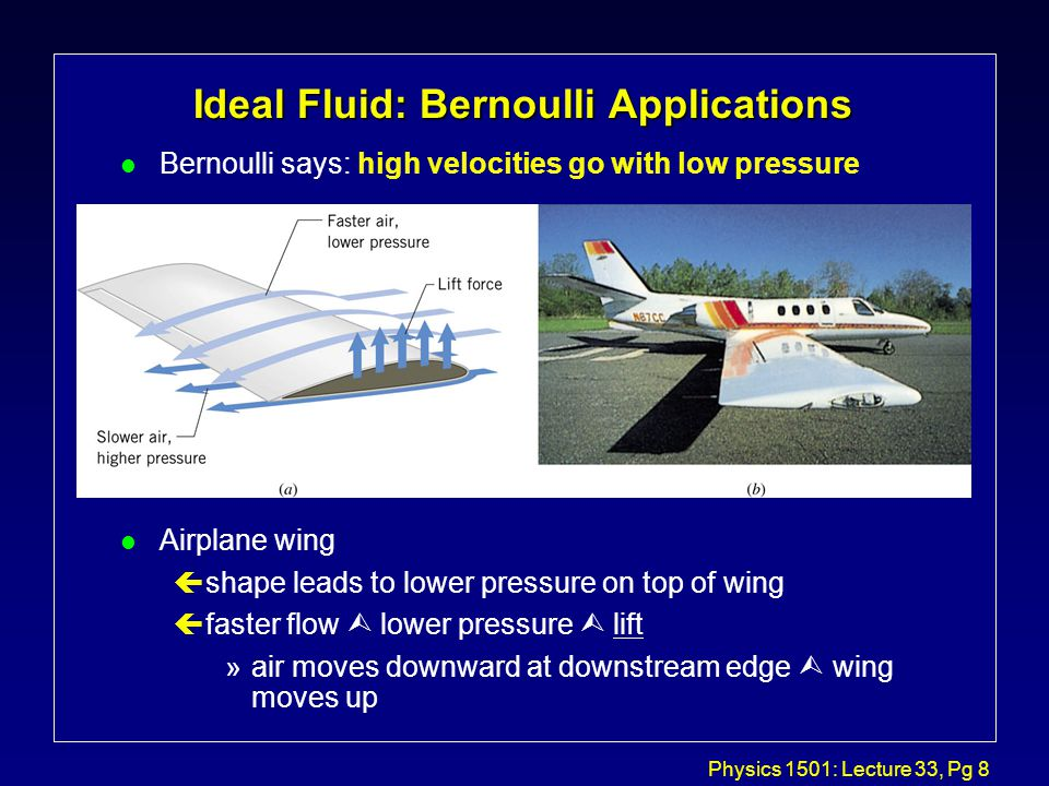 Physics 1501: Lecture 33, Pg 8 l Bernoulli says: high velocities go with low pressure l Airplane wing çshape leads to lower pressure on top of wing çfaster flow  lower pressure  lift »air moves downward at downstream edge  wing moves up Ideal Fluid: Bernoulli Applications