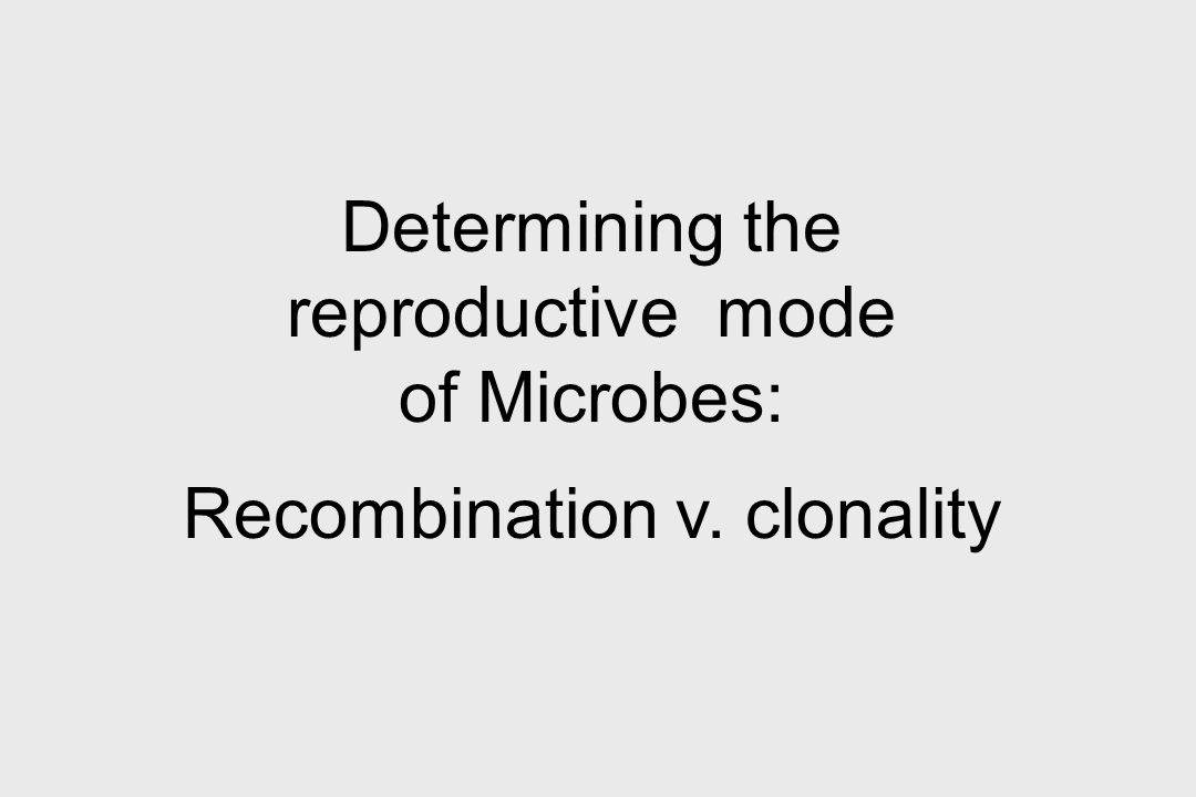Determining the reproductive mode of Microbes: Recombination v. clonality