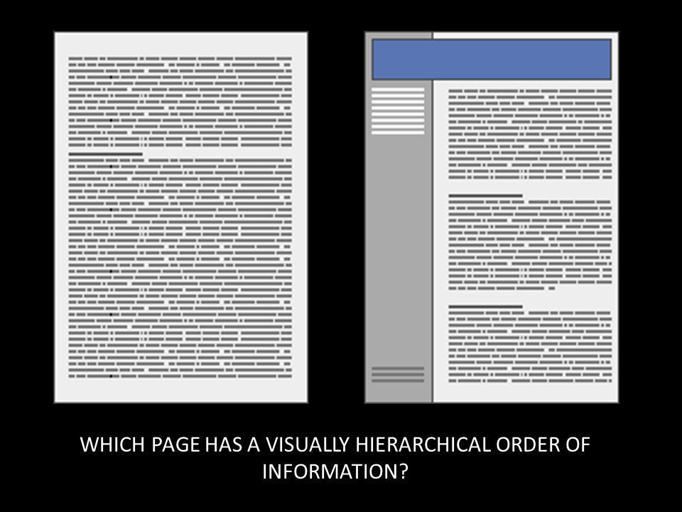 WHICH PAGE HAS A VISUALLY HIERARCHICAL ORDER OF INFORMATION?