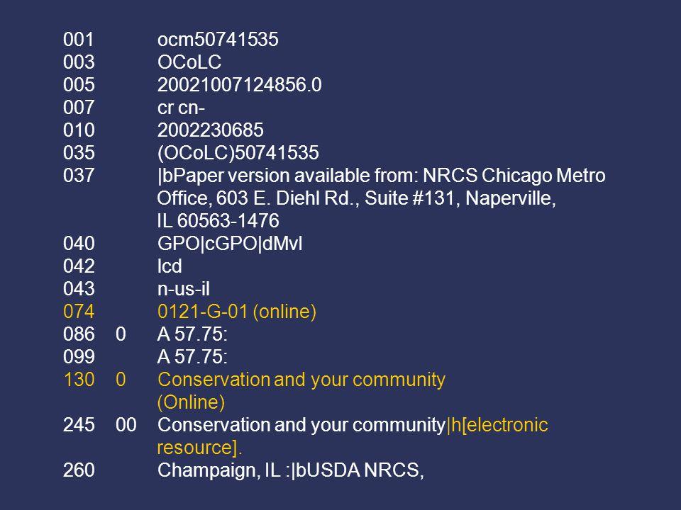 001 ocm50741535 003 OCoLC 005 20021007124856.0 007 cr cn- 010 2002230685 035 (OCoLC)50741535 037 |bPaper version available from: NRCS Chicago Metro Office, 603 E.