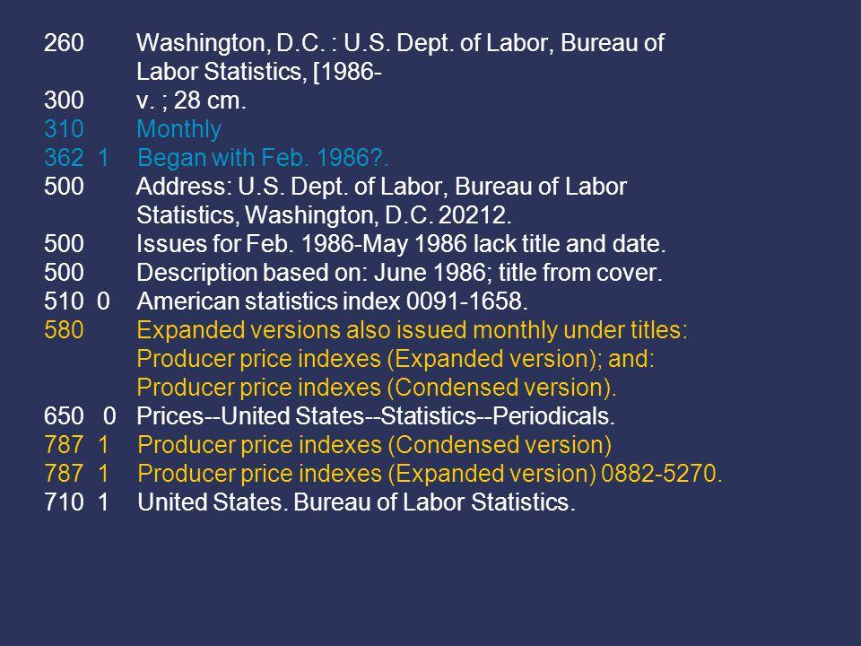 260 Washington, D.C. : U.S. Dept. of Labor, Bureau of Labor Statistics, [1986- 300 v.