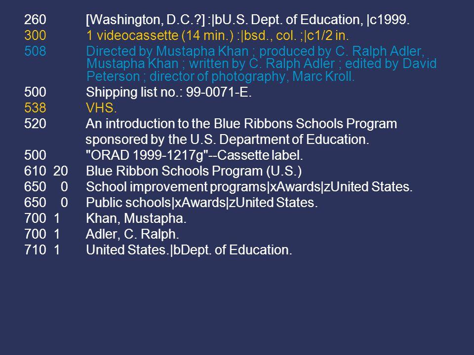 260 [Washington, D.C. ] :|bU.S. Dept. of Education, |c1999.