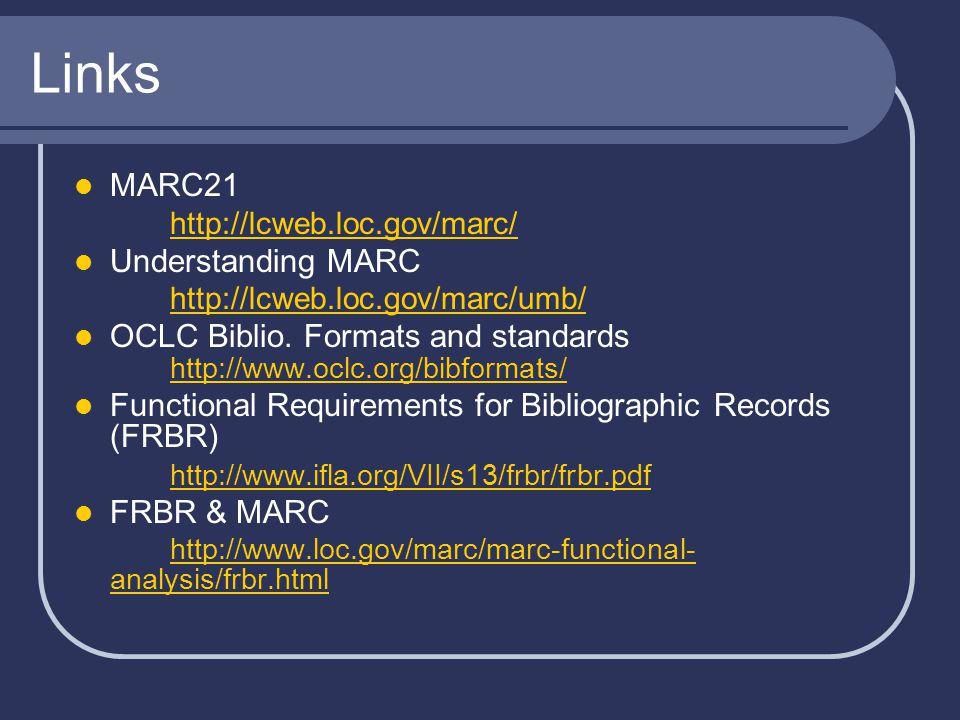 Links MARC21 http://lcweb.loc.gov/marc/ Understanding MARC http://lcweb.loc.gov/marc/umb/ OCLC Biblio.