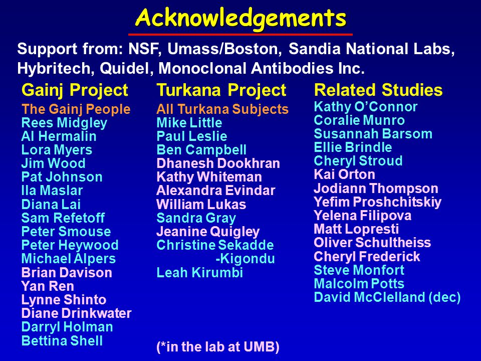 Support from: NSF, Umass/Boston, Sandia National Labs, Hybritech, Quidel, Monoclonal Antibodies Inc.Acknowledgements Gainj Project The Gainj People Rees Midgley Al Hermalin Lora Myers Jim Wood Pat Johnson Ila Maslar Diana Lai Sam Refetoff Peter Smouse Peter Heywood Michael Alpers Brian Davison Yan Ren Lynne Shinto Diane Drinkwater Darryl Holman Bettina Shell Related Studies Kathy O'Connor Coralie Munro Susannah Barsom Ellie Brindle Cheryl Stroud Kai Orton Jodiann Thompson Yefim Proshchitskiy Yelena Filipova Matt Lopresti Oliver Schultheiss Cheryl Frederick Steve Monfort Malcolm Potts David McClelland (dec) Turkana Project All Turkana Subjects Mike Little Paul Leslie Ben Campbell Dhanesh Dookhran Kathy Whiteman Alexandra Evindar William Lukas Sandra Gray Jeanine Quigley Christine Sekadde -Kigondu Leah Kirumbi (*in the lab at UMB)