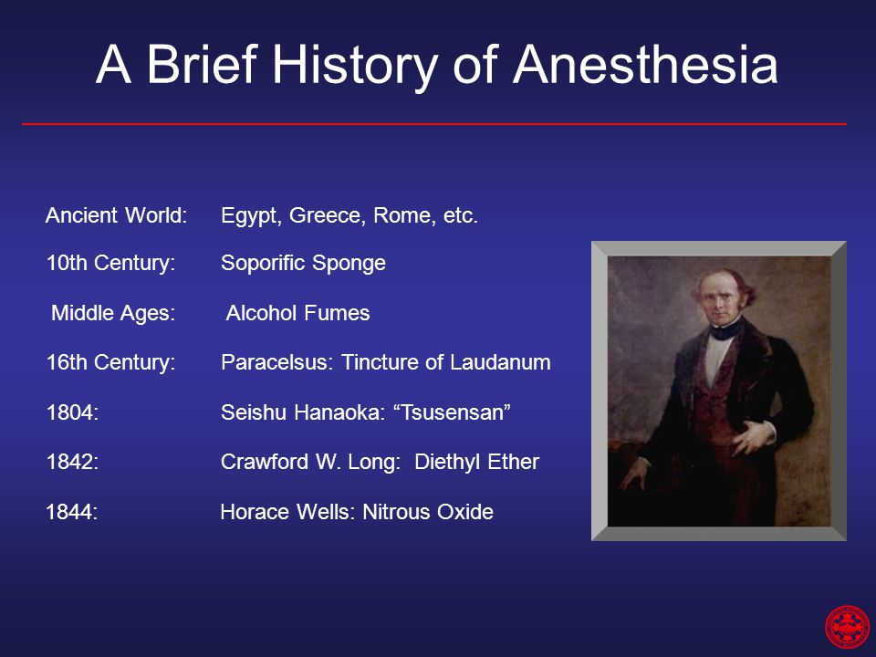 A Brief History of Anesthesia Ancient World:Egypt, Greece, Rome, etc. 10th Century:Soporific Sponge Middle Ages: Alcohol Fumes 16th Century:Paracelsus