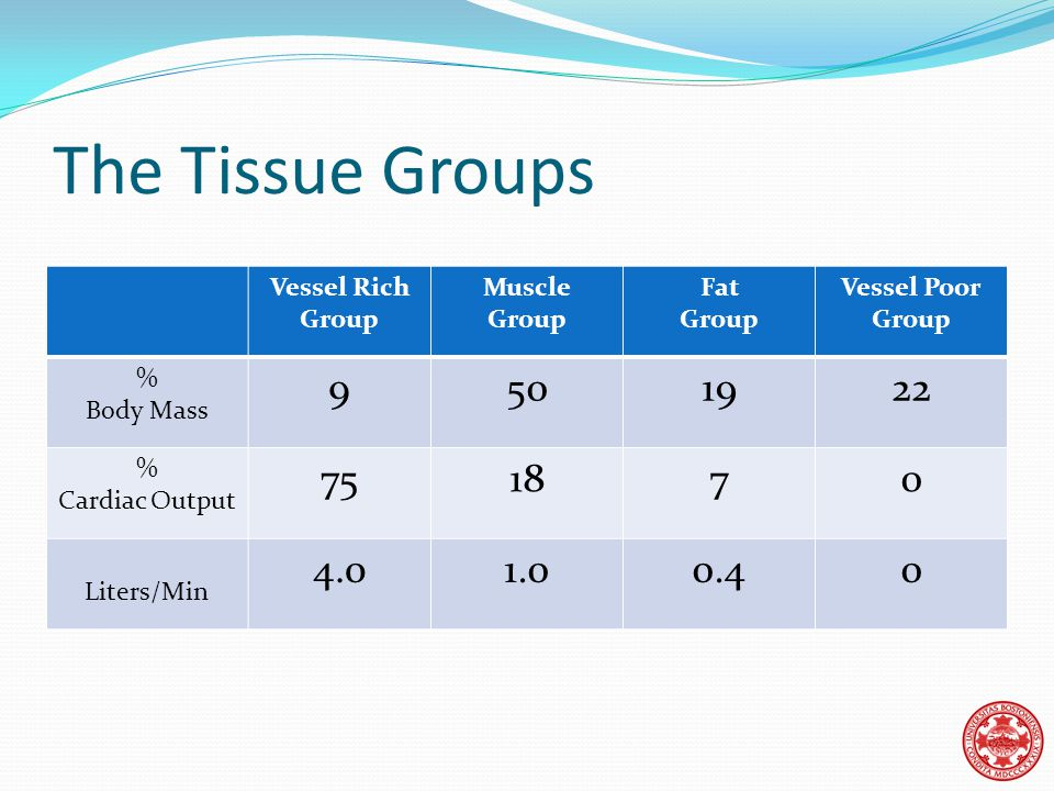 The Tissue Groups Vessel Rich Group Muscle Group Fat Group Vessel Poor Group % Body Mass 9501922 % Cardiac Output 751870 Liters/Min 4.01.00.40