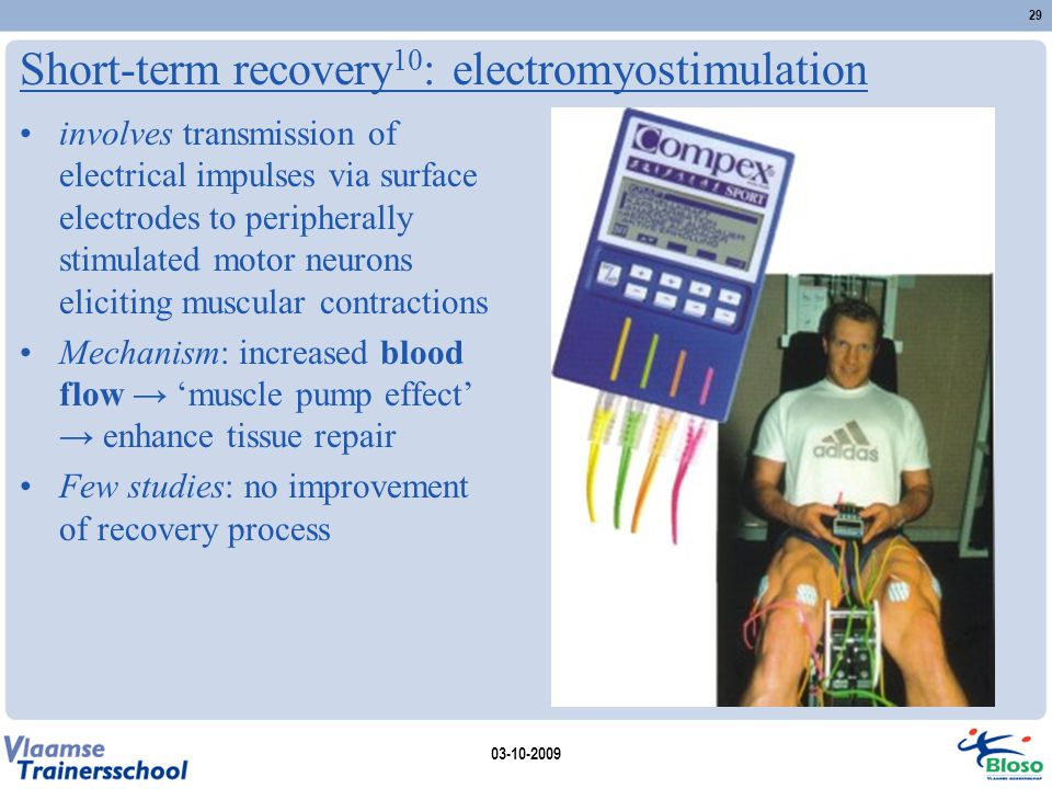 Short-term recovery 10 : electromyostimulation involves transmission of electrical impulses via surface electrodes to peripherally stimulated motor ne