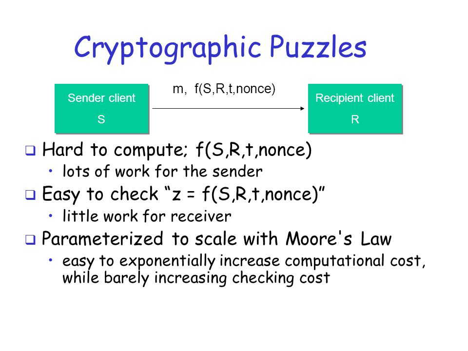  Hard to compute; f(S,R,t,nonce) lots of work for the sender  Easy to check z = f(S,R,t,nonce) little work for receiver  Parameterized to scale with Moore s Law easy to exponentially increase computational cost, while barely increasing checking cost Cryptographic Puzzles Sender client S Sender client S Recipient client R Recipient client R m, f(S,R,t,nonce)