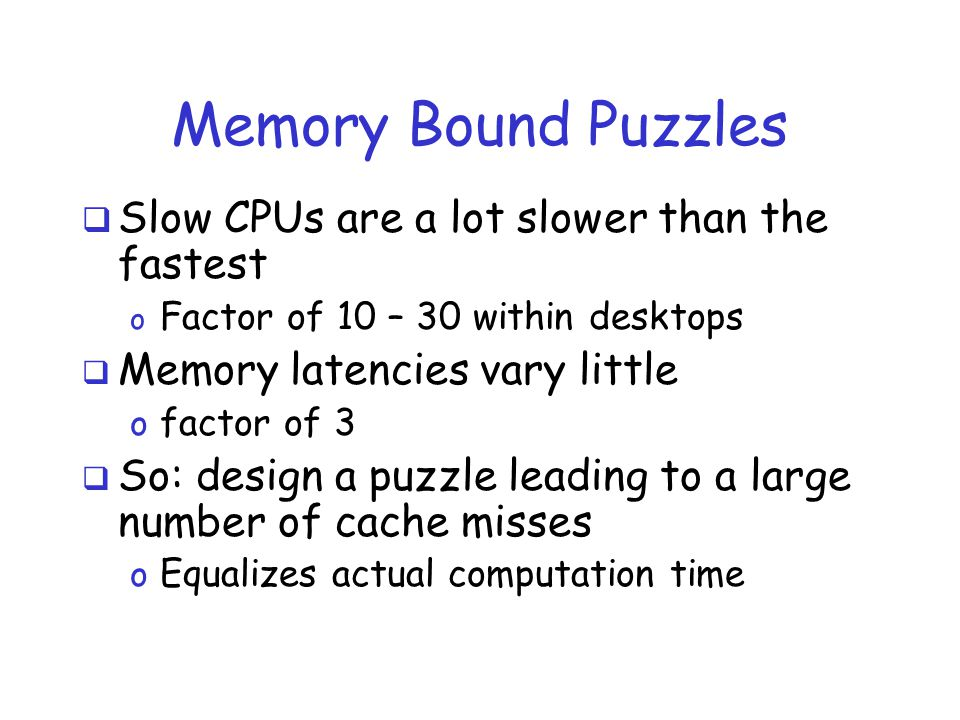 Memory Bound Puzzles  Slow CPUs are a lot slower than the fastest o Factor of 10 – 30 within desktops  Memory latencies vary little o factor of 3 