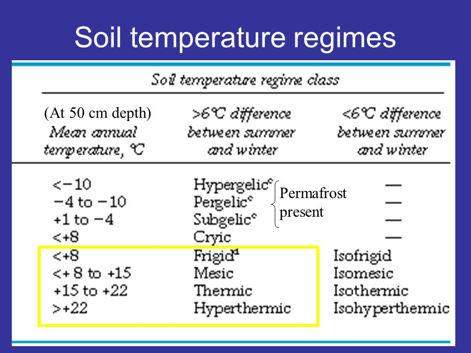 Soil temperature regimes Permafrost present (At 50 cm depth)