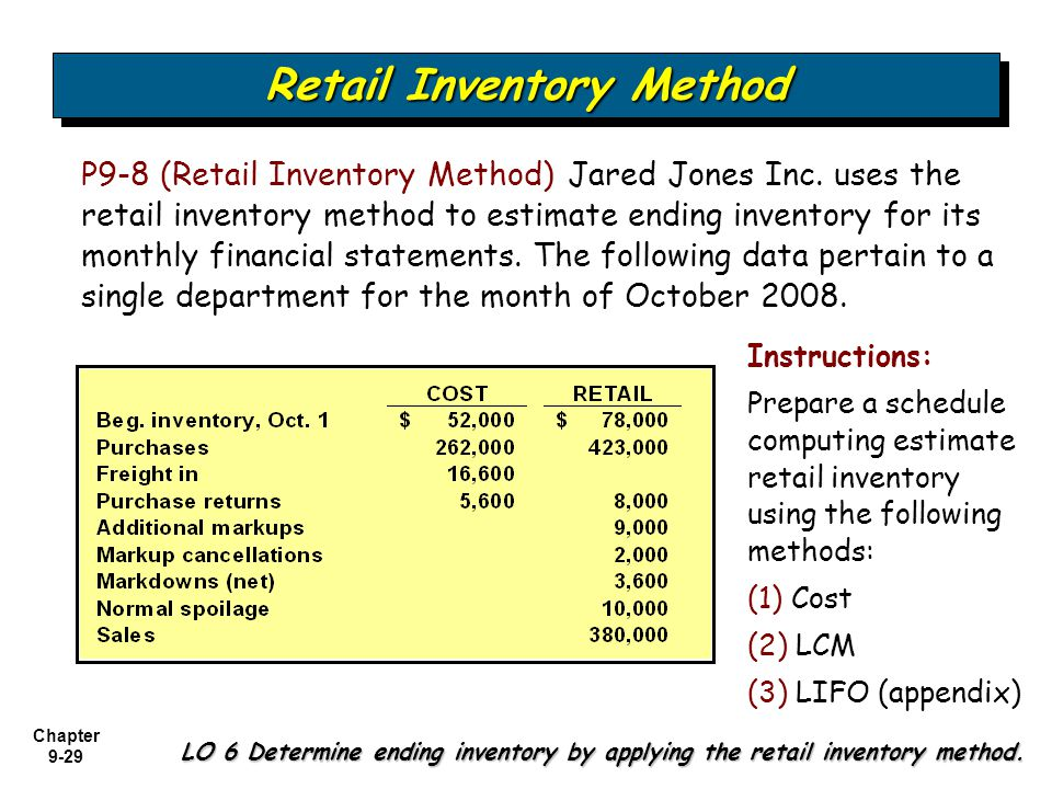 Chapter 9-29 P9-8 (Retail Inventory Method) Jared Jones Inc. uses the retail inventory method to estimate ending inventory for its monthly financial s