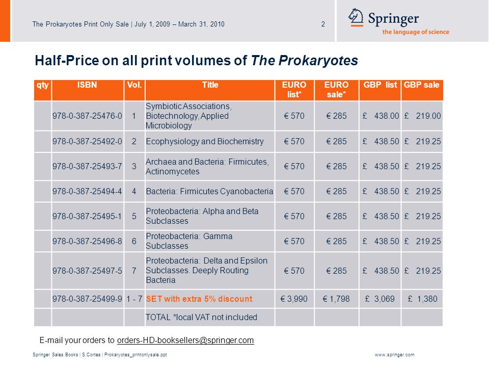 The Prokaryotes Print Only Sale | July 1, 2009 – March 31, 20103 Springer Sales Books | S.Cortes | Prokaryotes_printonlysale.pptwww.springer.com What are the conditions.