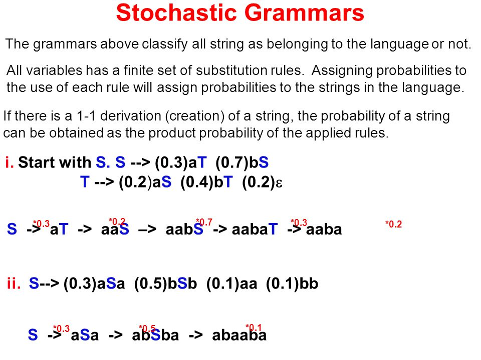 Stochastic Grammars The grammars above classify all string as belonging to the language or not. All variables has a finite set of substitution rules.