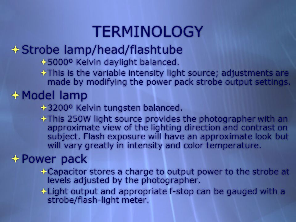 TERMINOLOGY  Strobe lamp/head/flashtube  5000º Kelvin daylight balanced.  This is the variable intensity light source; adjustments are made by modi