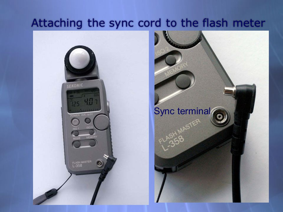 Attaching the sync cord to the flash meter Sync terminal