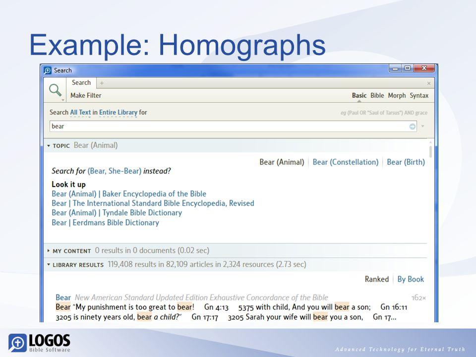 Example: Homographs