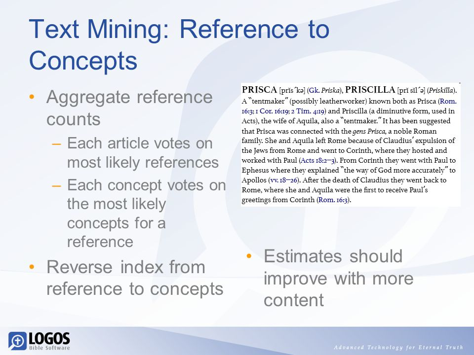 Text Mining: Reference to Concepts Aggregate reference counts –Each article votes on most likely references –Each concept votes on the most likely concepts for a reference Reverse index from reference to concepts Estimates should improve with more content