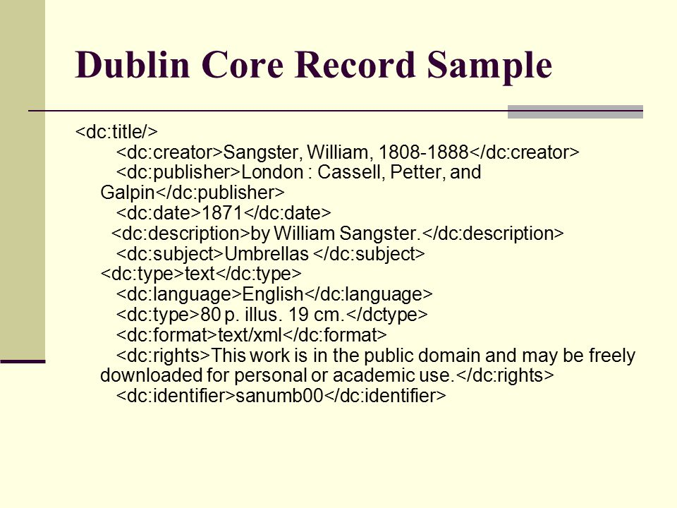 Dublin Core Record Sample Sangster, William, 1808-1888 London : Cassell, Petter, and Galpin 1871 by William Sangster. Umbrellas text English 80 p. ill