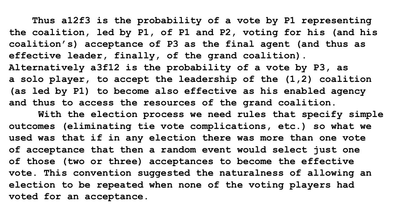 Thus a12f3 is the probability of a vote by P1 representing the coalition, led by P1, of P1 and P2, voting for his (and his coalition's) acceptance of