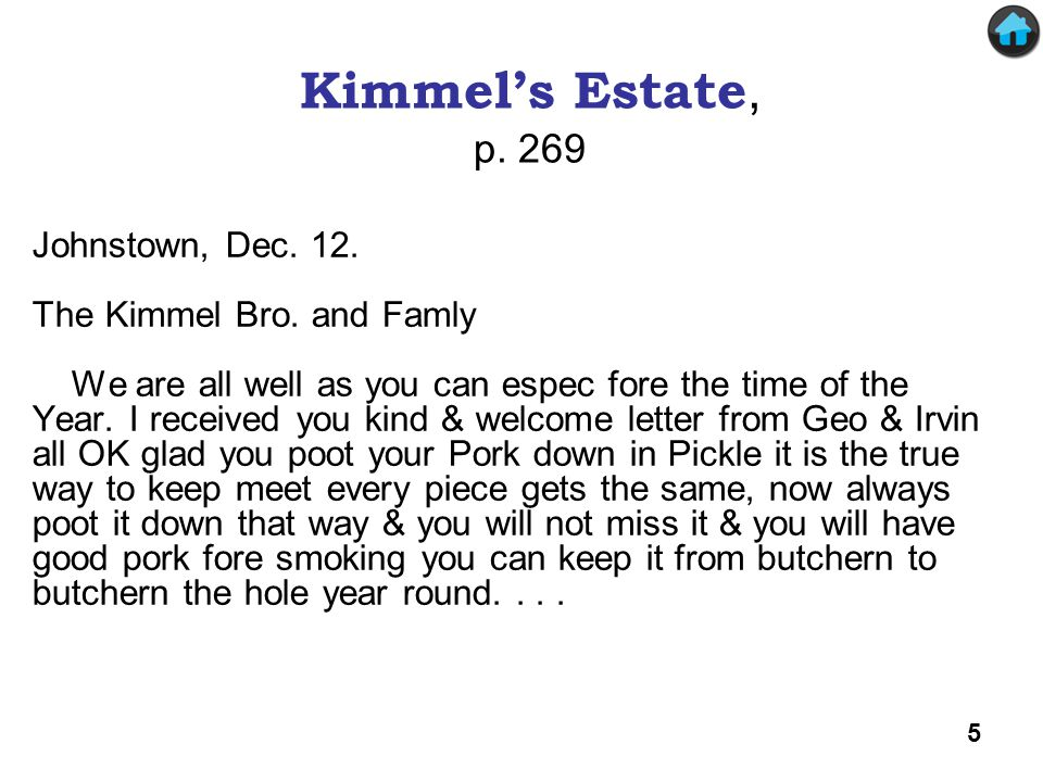 Kimmel's Estate (1) Johnstown, Dec.12. The Kimmel Bro.