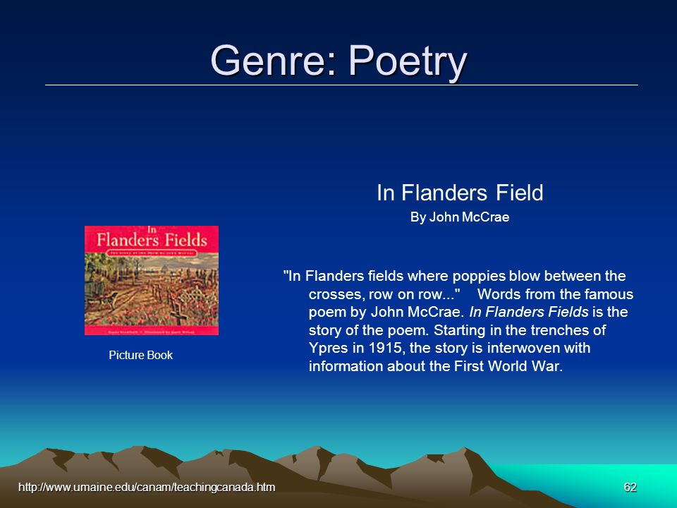 http://www.umaine.edu/canam/teachingcanada.htm62 Genre: Poetry In Flanders Field By John McCrae In Flanders fields where poppies blow between the crosses, row on row... Words from the famous poem by John McCrae.