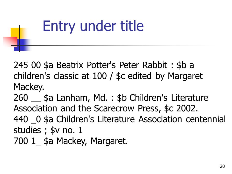 20 245 00 $a Beatrix Potter s Peter Rabbit : $b a children s classic at 100 / $c edited by Margaret Mackey.