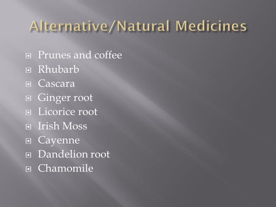  Prunes and coffee  Rhubarb  Cascara  Ginger root  Licorice root  Irish Moss  Cayenne  Dandelion root  Chamomile