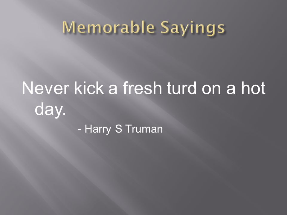 Never kick a fresh turd on a hot day. - Harry S Truman
