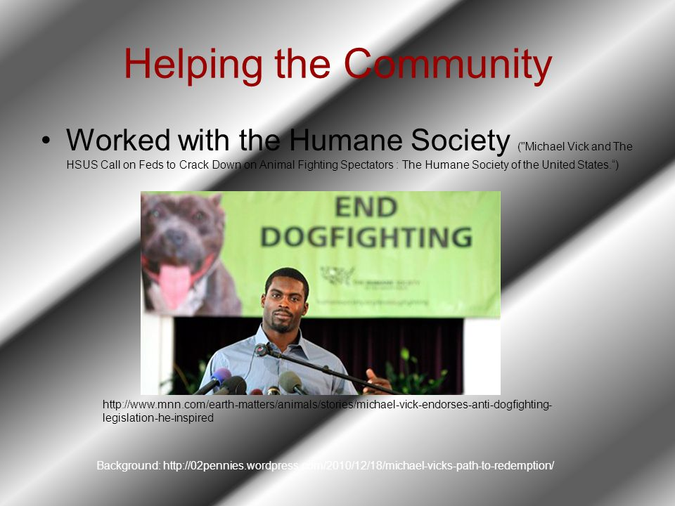 Helping the Community Worked with the Humane Society ( Michael Vick and The HSUS Call on Feds to Crack Down on Animal Fighting Spectators : The Humane Society of the United States. ) http://www.mnn.com/earth-matters/animals/stories/michael-vick-endorses-anti-dogfighting- legislation-he-inspired Background: http://02pennies.wordpress.com/2010/12/18/michael-vicks-path-to-redemption/
