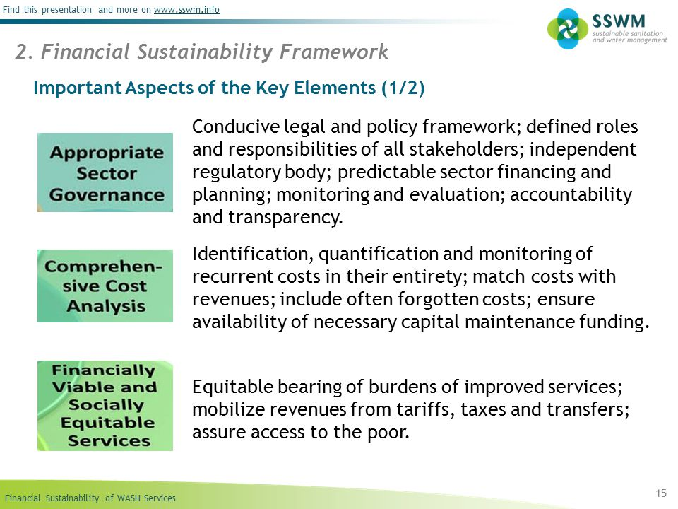 Financial Sustainability of WASH Services Find this presentation and more on www.sswm.infowww.sswm.info Important Aspects of the Key Elements (1/2) 15 2.