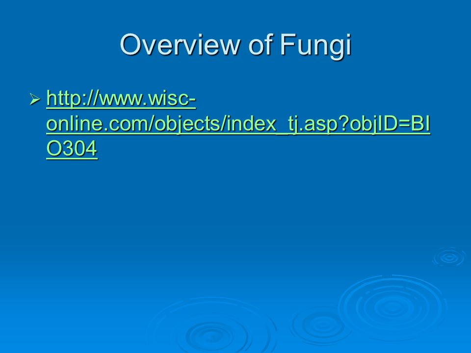 Overview of Fungi  http://www.wisc- online.com/objects/index_tj.asp?objID=BI O304 http://www.wisc- online.com/objects/index_tj.asp?objID=BI O304 http