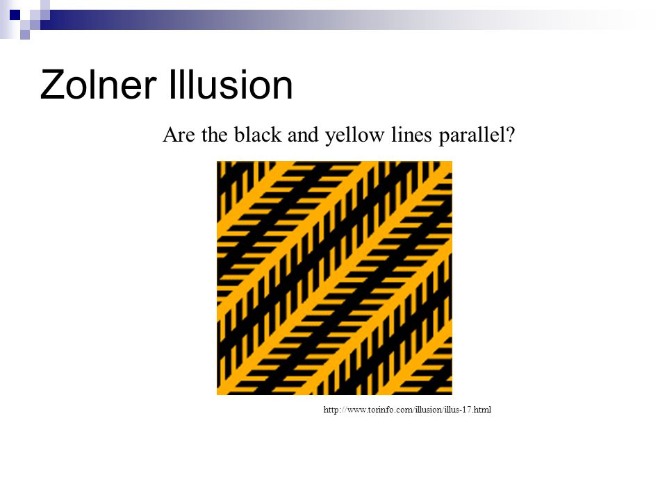 Zolner Illusion http://www.torinfo.com/illusion/illus-17.html Are the black and yellow lines parallel?