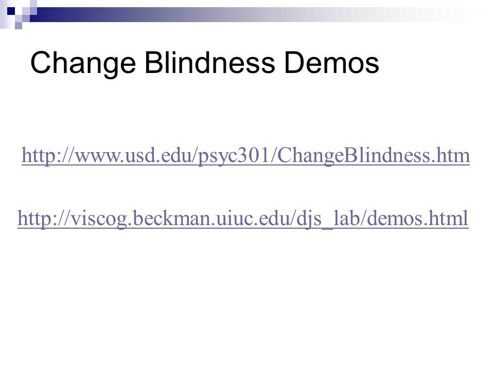 Change Blindness Demos http://www.usd.edu/psyc301/ChangeBlindness.htm http://viscog.beckman.uiuc.edu/djs_lab/demos.html