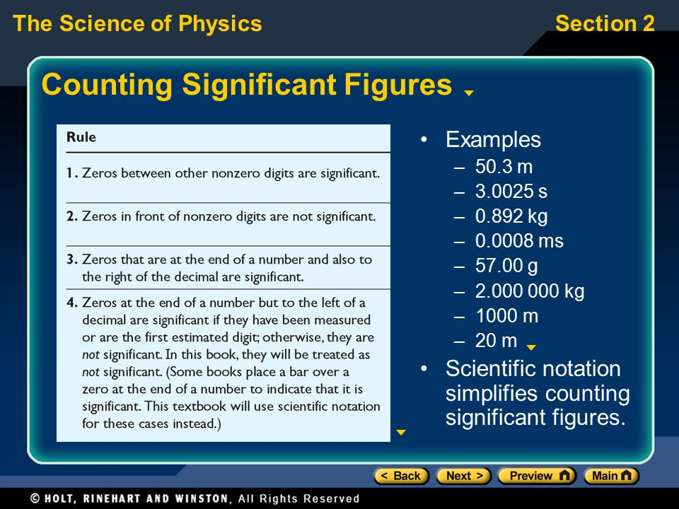 The Science of PhysicsSection 2 Counting Significant Figures Examples –50.3 m –3.0025 s –0.892 kg –0.0008 ms –57.00 g –2.000 000 kg –1000 m –20 m Scie