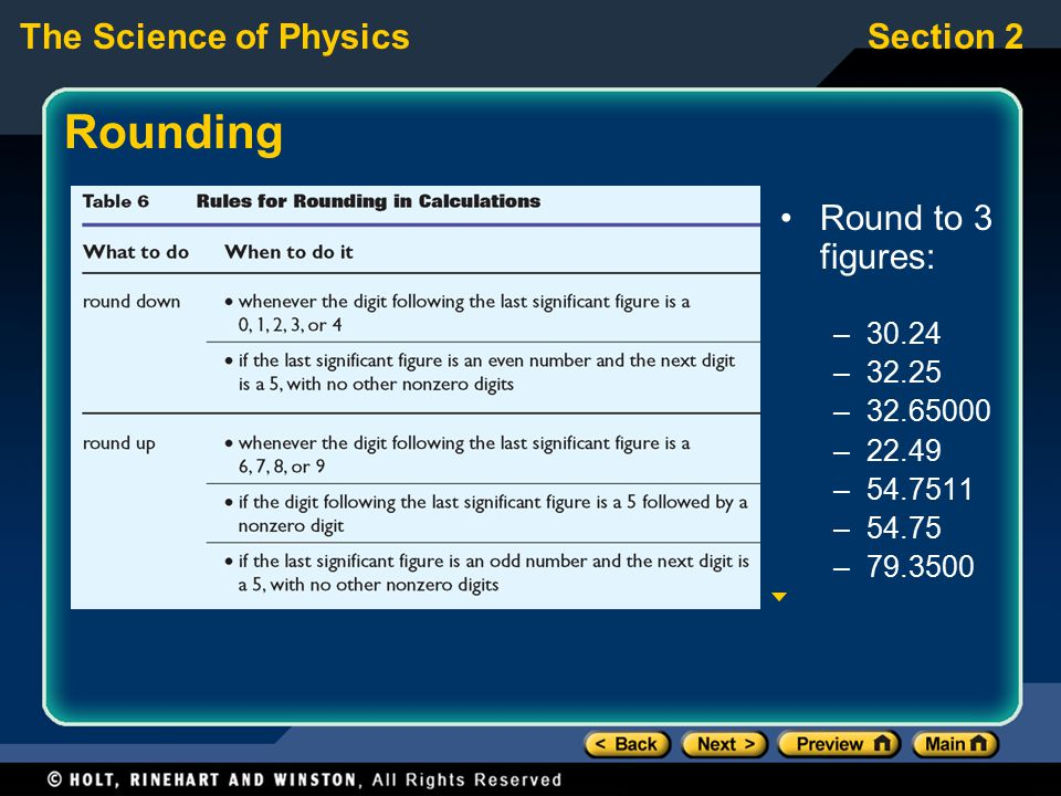 The Science of PhysicsSection 2 Rounding Round to 3 figures: –30.24 –32.25 –32.65000 –22.49 –54.7511 –54.75 –79.3500