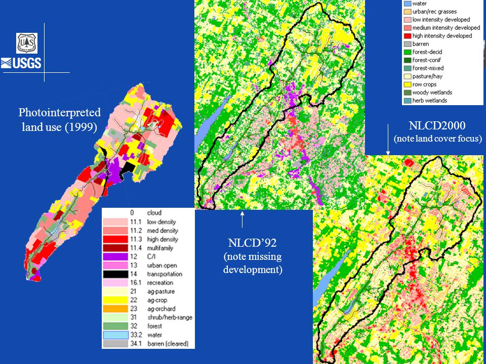 Differences between them Description, comparison maps and comparison plots Photointerpreted land use (1999) NLCD'92 (note missing development) NLCD200