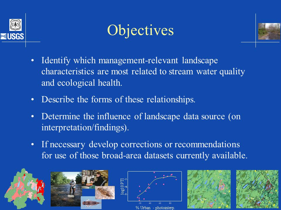 Objectives Identify which management-relevant landscape characteristics are most related to stream water quality and ecological health.