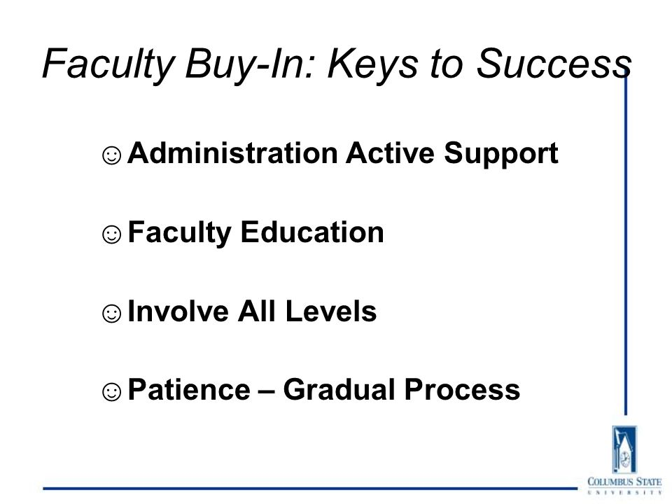 Faculty Buy-In: Keys to Success ☺Administration Active Support ☺Faculty Education ☺Involve All Levels ☺Patience – Gradual Process