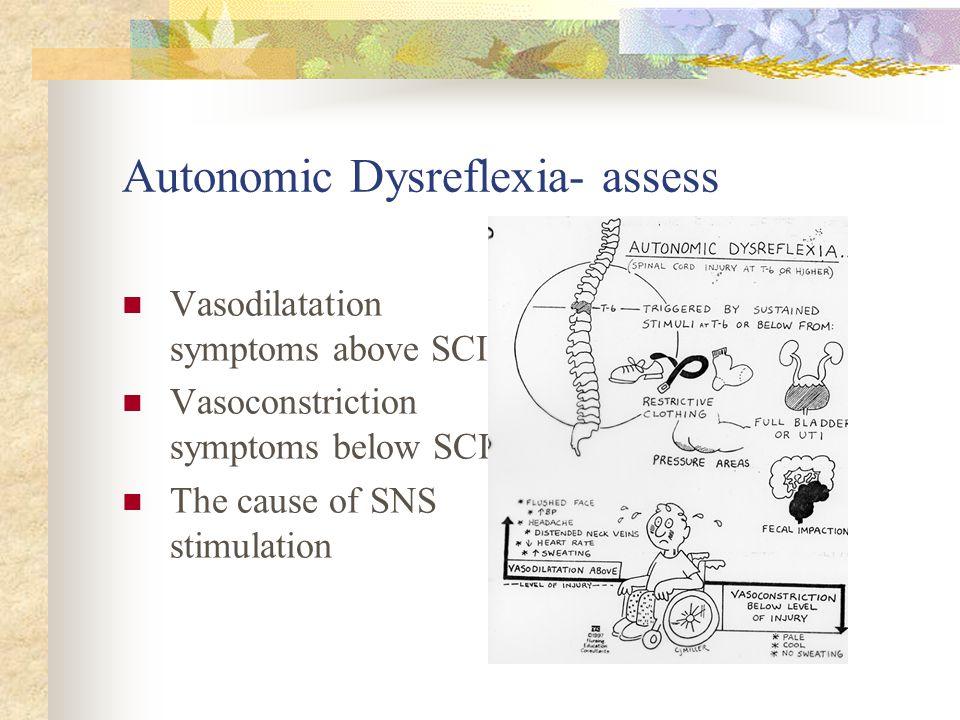 Autonomic Dysreflexia- assess Vasodilatation symptoms above SCI Vasoconstriction symptoms below SCI The cause of SNS stimulation